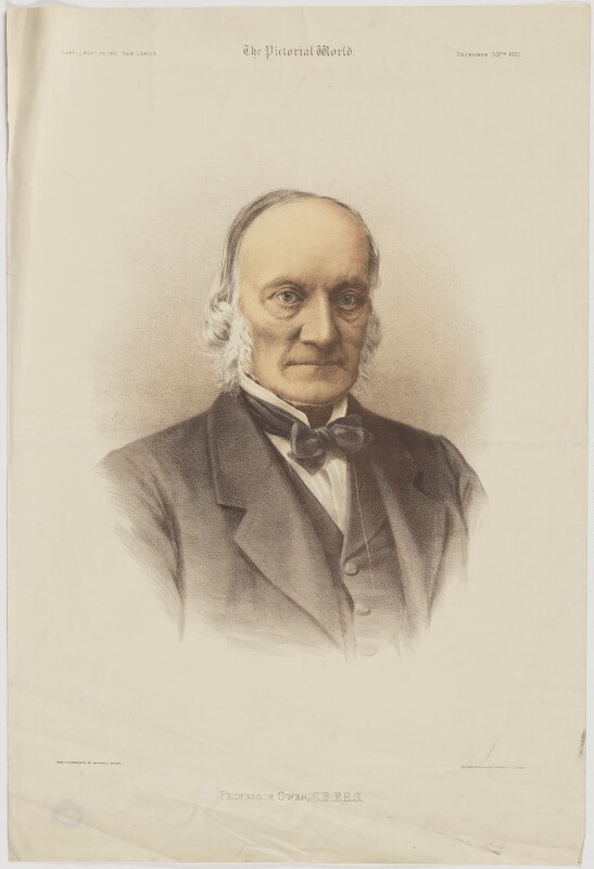 Sir Richard Owen, printed by Maclure & Macdonald, published by  The Pictorial World, after  Herbert Rose Barraud, published 30 December 1882 - NPG D39480 - © National Portrait Gallery, London