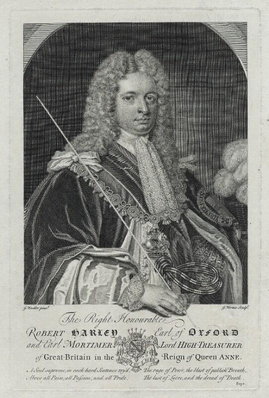 Robert Harley, 1st Earl of Oxford, by George Vertue, after  Sir Godfrey Kneller, Bt, (1714) - NPG D39485 - © National Portrait Gallery, London