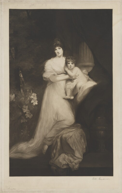 Jane Elizabeth (née Scott), Countess of Oxford; Jane Elizabeth Bickersteth (née Harley), Lady Langdale, by William Henderson, after  John Hoppner, late 19th-early 20th century (1798-1799) - NPG D39490 - © National Portrait Gallery, London