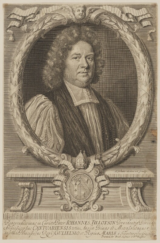 John Tillotson, by Peter Vanderbank (Vandrebanc), by  Robert White, published by  Brabazon Aylmer, published by  William Rogers, after  Mary Beale, circa 1692 - NPG D39616 - © National Portrait Gallery, London