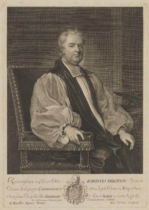 John Tillotson, by George Vertue, after  Sir Godfrey Kneller, Bt, 1710 - NPG D39618 - © National Portrait Gallery, London