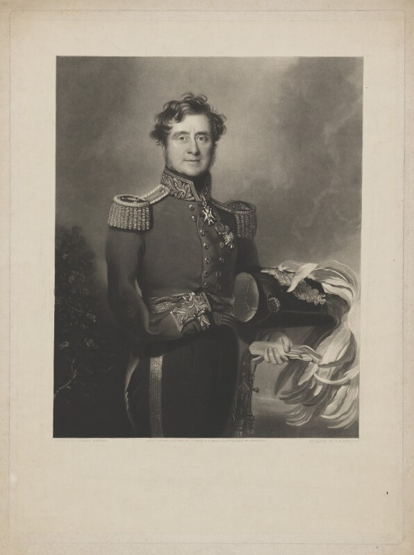 FitzRoy James Henry Somerset, 1st Baron Raglan, by William Oakley Burgess, published by  Joseph Sandell Welch, after  Andrew Morton, published 1 July 1844 - NPG D39175 - © National Portrait Gallery, London