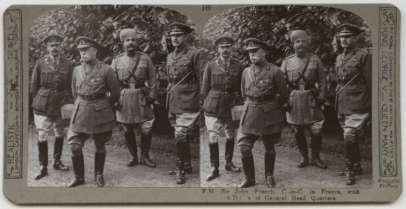 John Denton Pinkstone French, 1st Earl of Ypres with his aides-de-camp, published by Realistic Travels, circa 1914 - NPG x134378 - © National Portrait Gallery, London