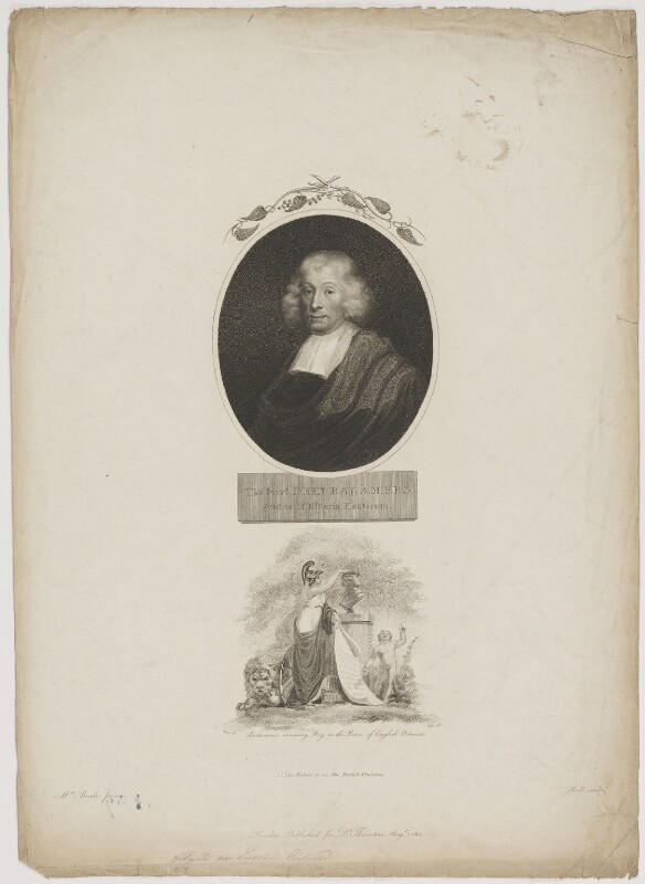John Ray with 'Britannia crowning Ray as the Prince of English Botanists', by William Holl Sr, published by  Robert John Thornton, after  Thomas Uwins, and after  Unknown artist, published 1 August 1804 - NPG D39221 - © National Portrait Gallery, London
