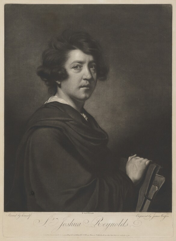 Sir Joshua Reynolds, by James Watson, published by  Robert Sayer, after  Sir Joshua Reynolds, published 10 July 1770 (circa 1766?) - NPG D39696 - © National Portrait Gallery, London