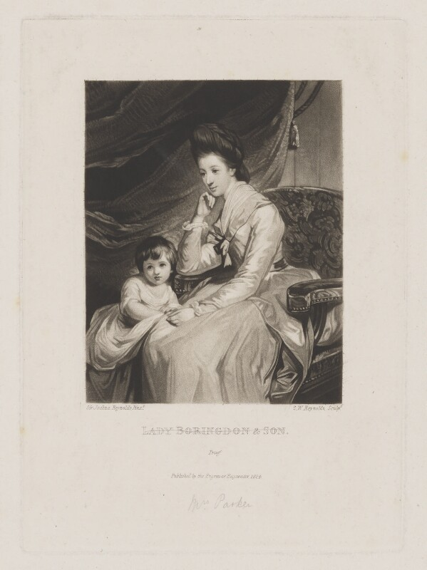 John Parker, 1st Earl of Morley; Theresa Parker, by and published by Samuel William Reynolds, after  Sir Joshua Reynolds, published 1824 (1772-1775) - NPG D39541 - © National Portrait Gallery, London