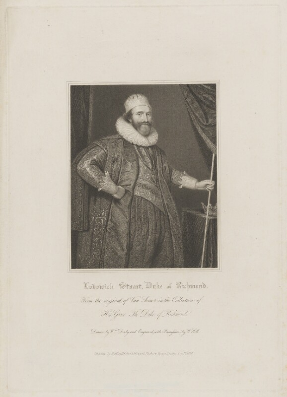 Ludovic Stuart, 1st Duke of Richmond and 2nd Duke of Lennox, by William Holl Sr, published by  Harding, Triphook & Lepard, after  William Derby, after  Paul van Somer, published 1 December 1824 - NPG D39733 - © National Portrait Gallery, London