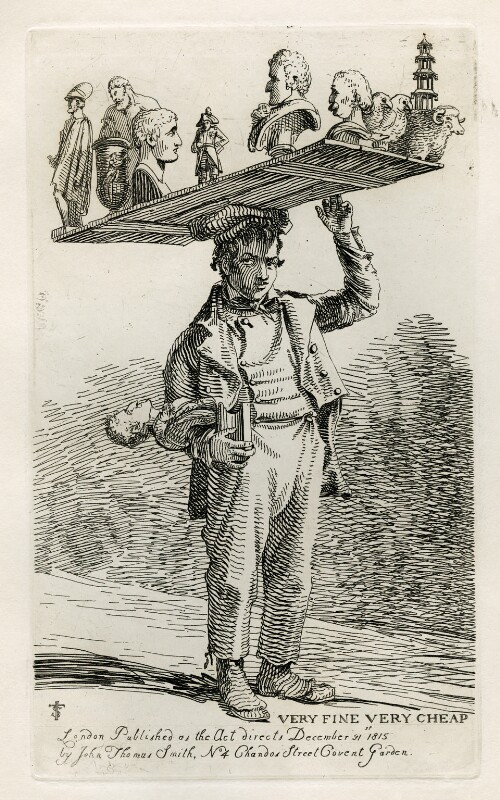 Unknown man selling plaster figures ('Very Fine Very Cheap'), by and published by John Thomas Smith, published 31 December 1815 - NPG D40098 - © National Portrait Gallery, London