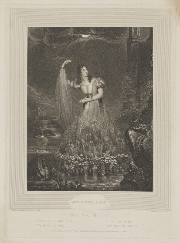 Isabella Paton as the White Maid of Avenel, by G.F. Storm, published by  Martin Colnaghi, and published by  Rudolph Ackermann, after  Frederick Meyer, published 3 November 1827 - NPG D39563 - © National Portrait Gallery, London