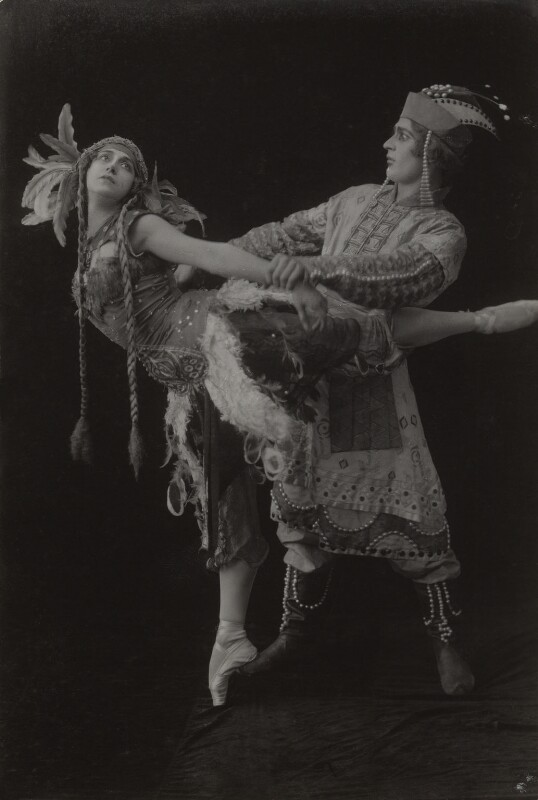 Tamara Karsavina as the Firebird and Adolph Bolm as Ivan Tsarevich in 'L'Oiseau de Feu' (The Firebird), by Bassano Ltd, 27 June 1912 - NPG x85799 - © National Portrait Gallery, London