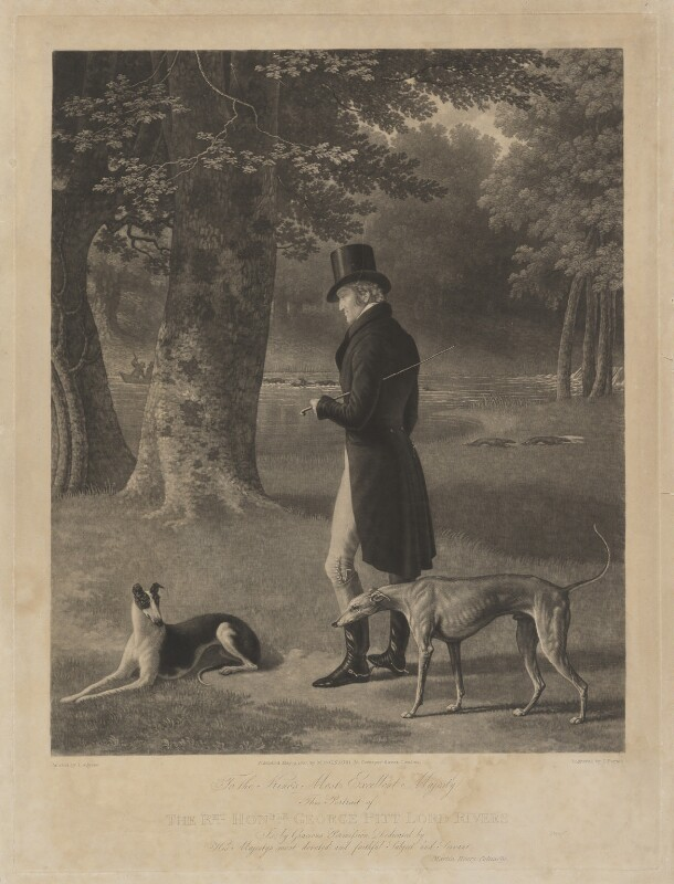 George Pitt, 2nd Baron Rivers, by John Porter, published by  Martin Colnaghi, after  Jacques-Laurent Agasse, published 9 May 1827 - NPG D39776 - © National Portrait Gallery, London