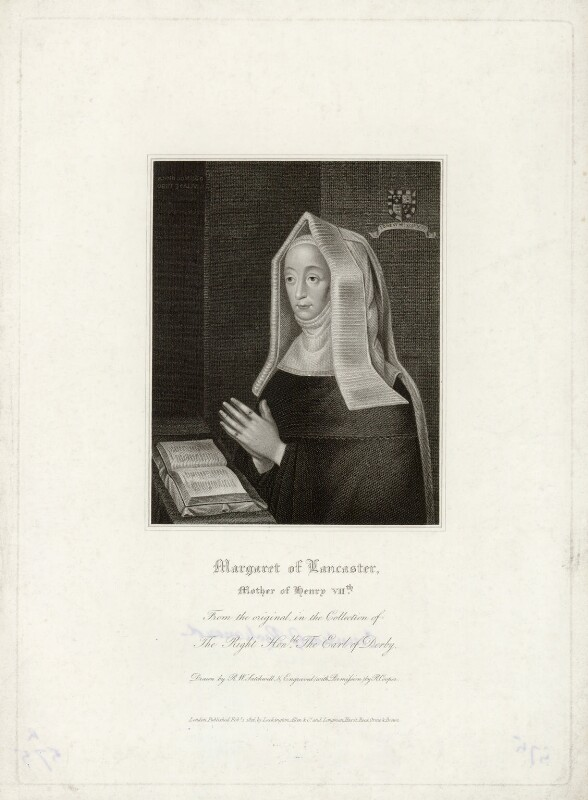 Lady Margaret Beaufort, Countess of Richmond and Derby, by Robert Cooper, published by  Lackington, Allen & Co, published by  Longman, Hurst, Rees, Orme & Brown, after  Robert William Satchwell, published 1 February 1816 - NPG D39778 - © National Portrait Gallery, London
