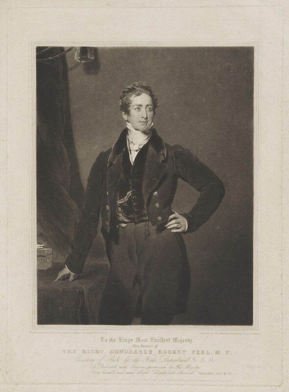 Sir Robert Peel, 2nd Bt, by and published by Charles Turner, and published by  Colnaghi, Son & Co, printed by  Lahee & Co, after  Sir Thomas Lawrence, published 20 March 1828 - NPG D39588 - © National Portrait Gallery, London