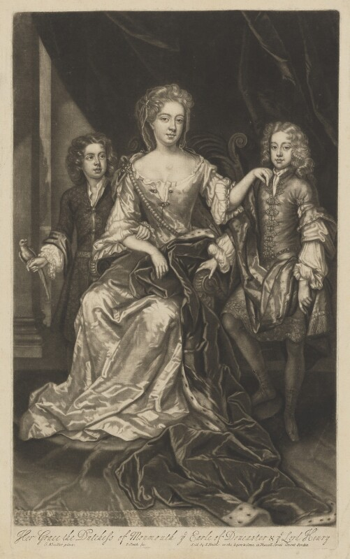 James Scott, Earl of Dalkeith; Anna Scott, Duchess of Monmouth and Duchess of Buccleuch; Henry Scott, 1st Earl of Deloraine, by and published by John Smith, after  Sir Godfrey Kneller, Bt, 1688 - NPG D10987 - © National Portrait Gallery, London