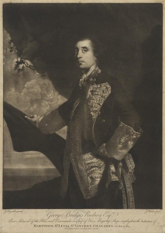 George Bridges Rodney, 1st Baron Rodney, by James Watson, sold by  Ryland and Bryer, after  Sir Joshua Reynolds, (1756-1759) - NPG D39832 - © National Portrait Gallery, London