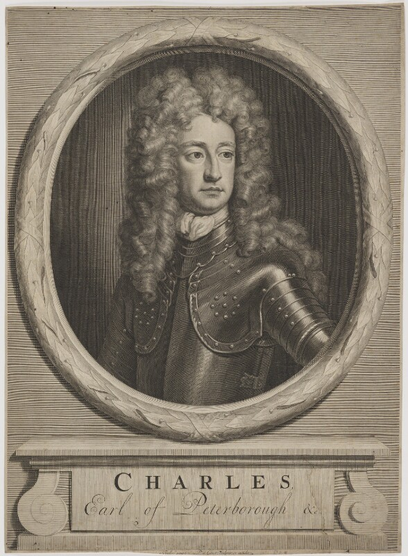 Charles Mordaunt, 3rd Earl of Peterborough, by and published by Pieter Stevens van Gunst, after  Sir Godfrey Kneller, Bt, (circa 1705) - NPG D40172 - © National Portrait Gallery, London
