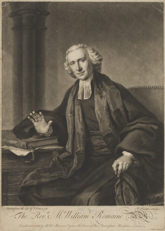 William Romaine, by Richard Houston, printed and sold by  Bewley Wynne Morrison, after  Francis Cotes, (1758) - NPG D39854 - © National Portrait Gallery, London