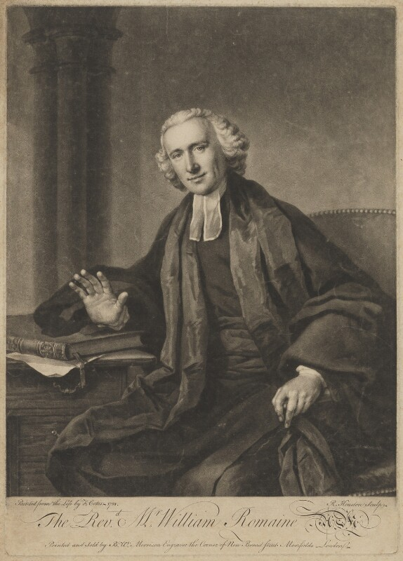 William Romaine, by Richard Houston, printed and sold by  Bewley Wynne Morrison, after  Francis Cotes, (1758) - NPG D39855 - © National Portrait Gallery, London