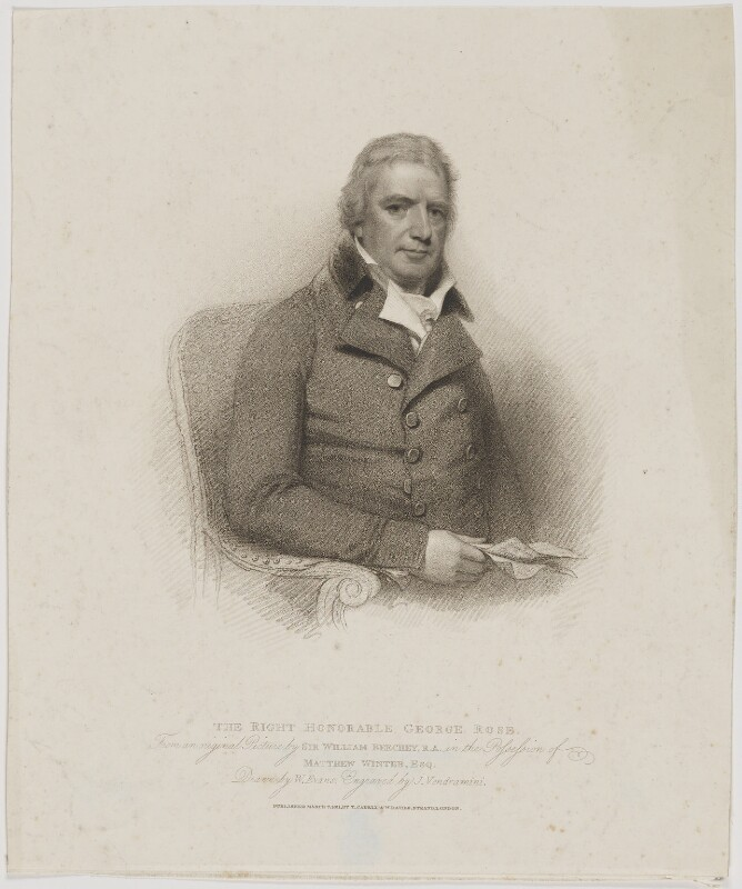 George Rose, by Giovanni Vendramini, published by  T. Cadell & W. Davies, after  William Evans, after  Sir William Beechey, published 7 March 1811 (1802) - NPG D39870 - © National Portrait Gallery, London