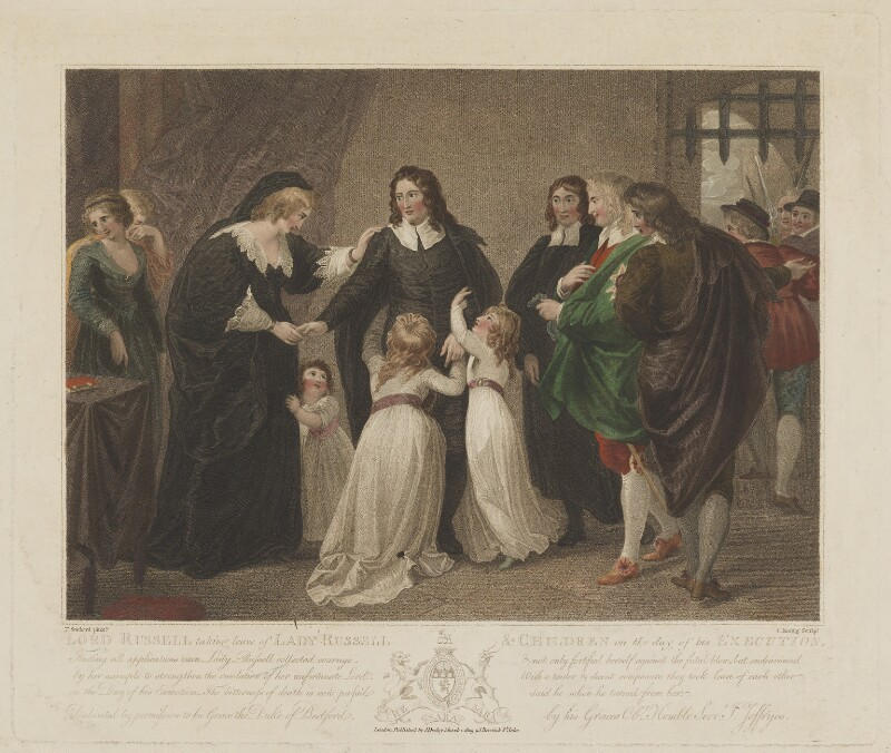 William Russell, Lord Russell taking leave of Lady Russell & Children on the day of his Execution, by Charles Knight, published by  J. Deeley, after  Thomas Stothard, published 1 March 1809 - NPG D39936 - © National Portrait Gallery, London