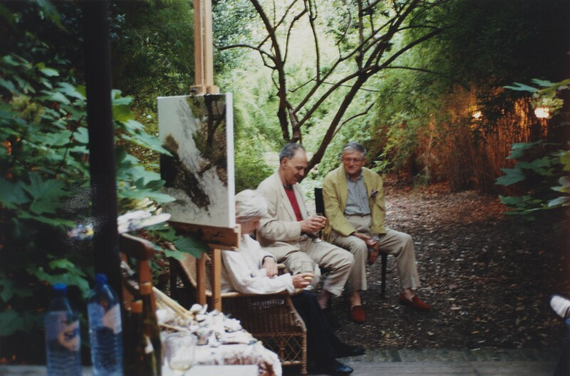 'Summer evening in the Garden' (Julia Auerbach (née Wolstenholme); Frank Auerbach; David Hockney), by David Dawson, 2003 - NPG x134646 - © David Dawson