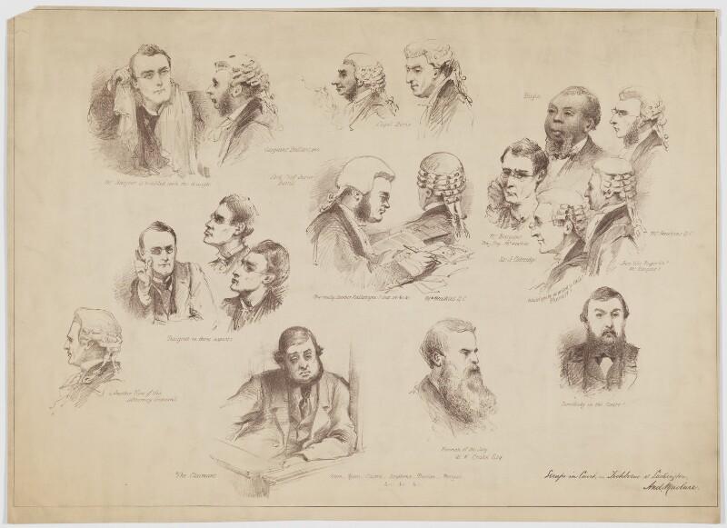 'Scraps in Court, - Tichborne v Lushington', by Andrew Maclure, 1871 - NPG D40307 - © National Portrait Gallery, London