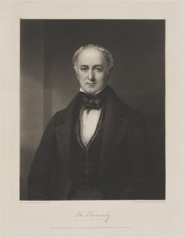 Thomas Thornely, by Samuel William Reynolds, published by  Thomas Agnew, published by  Henry Lacey, after  Edward Villiers Rippingille, published March 1838 - NPG D40310 - © National Portrait Gallery, London