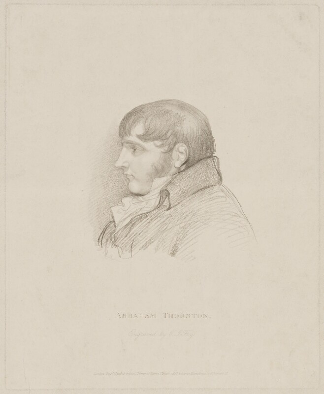 Abraham Thornton, by William Thomas Fry, published by  Charles Turner, published by  George Humphrey, after  Unknown artist, published 16 March 1818 - NPG D40311 - © National Portrait Gallery, London