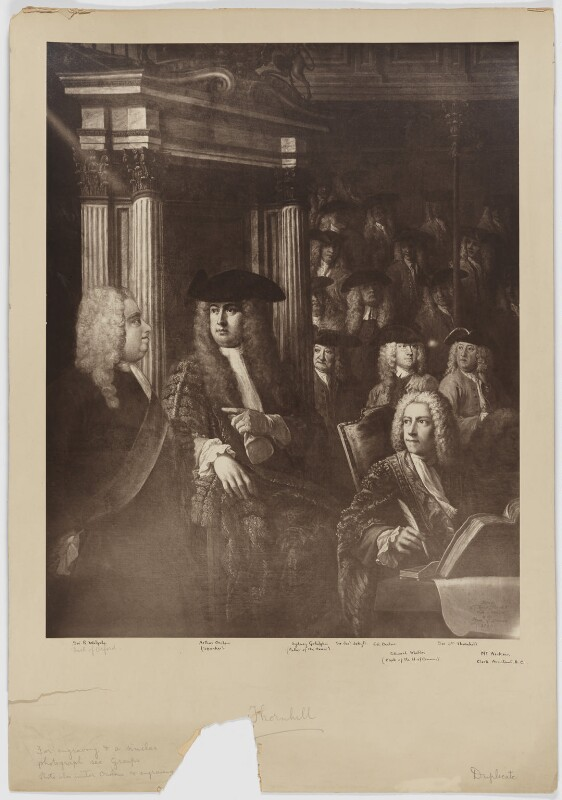 House of Commons, 1730, after William Hogarth, and after  Sir James Thornhill, early 20th century (1730) - NPG D40331 - © National Portrait Gallery, London