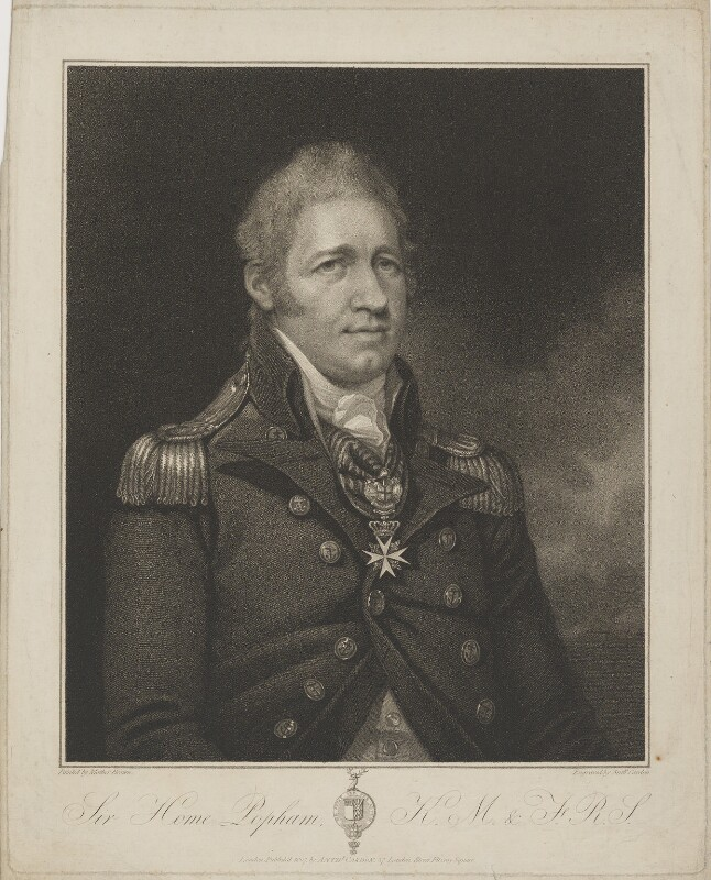 Sir Home Riggs Popham, by and published by Anthony Cardon, after  Mather Brown, published 1807 - NPG D40357 - © National Portrait Gallery, London
