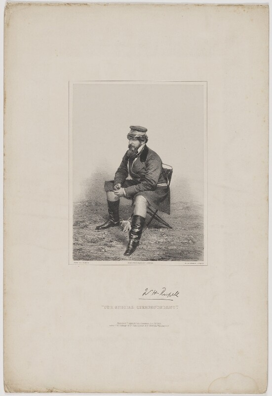 Sir William Howard Russell, by James Henry Lynch, printed by  M & N Hanhart, published by  Thomas Agnew & Sons Ltd, and  Paul and Dominic Colnaghi & Co, and  Ernest Gambart & Co, and  Williams & Co, after  Roger Fenton, published 22 October 1855 - NPG D39943 - © National Portrait Gallery, London