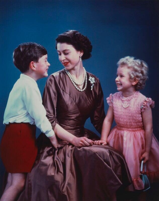 NPG P1616; Princess Anne; Queen Elizabeth II; Prince