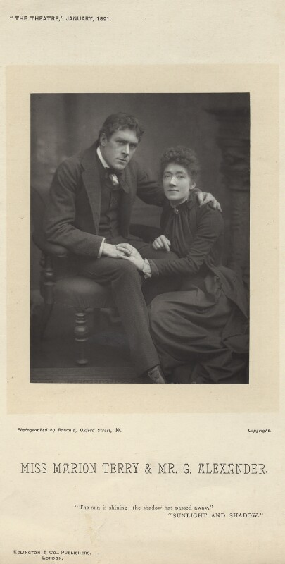 Sir George Alexander (George Samson) as George Addis; Marion Bessie Terry as Helen in 'Sunlight and Shadow', by Herbert Rose Barraud, published by  Eglington & Co, published 1 January 1891 - NPG x134671 - © National Portrait Gallery, London