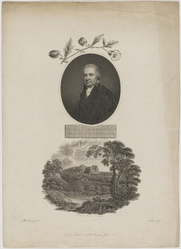 Daniel Rutherford with 'A distant View of Edinburgh', by William Holl Sr, published by  Robert John Thornton, after  Sir Henry Raeburn, published 1 June 1804 - NPG D39950 - © National Portrait Gallery, London