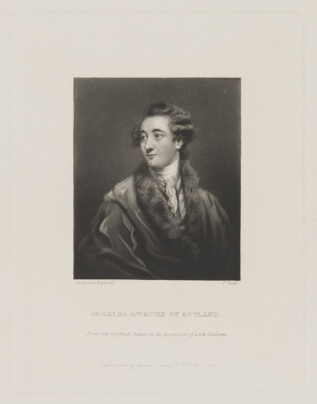Charles Manners, 4th Duke of Rutland, by James Scott, published by  Henry Graves & Co, after  Sir Joshua Reynolds, published 1864 (circa 1775) - NPG D39954 - © National Portrait Gallery, London