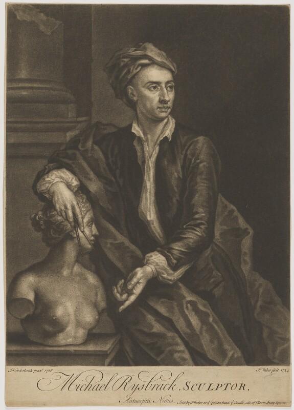 John Michael Rysbrack, by and sold by John Faber Jr, after  John Vanderbank, 1734 (1728) - NPG D39968 - © National Portrait Gallery, London