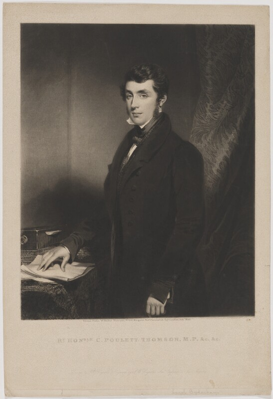 Charles Poulett-Thomson, Baron Sydenham, by Samuel William Reynolds, published by  William Walker, after  Samuel William Reynolds Jr, published July 1833 - NPG D40333 - © National Portrait Gallery, London