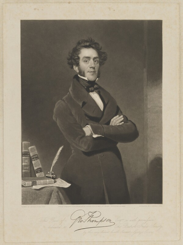 George Thompson, by Charles Turner, published by and after  George Evans, published 12 November 1842 - NPG D40423 - © National Portrait Gallery, London