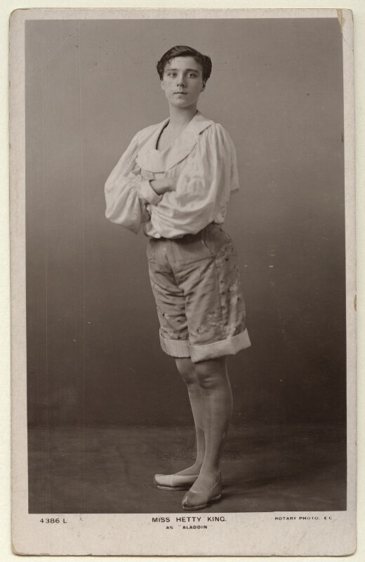Hetty King (Winifred Emms) as Aladdin, published by Rotary Photographic Co Ltd, circa 1906 - NPG Ax160069 - © National Portrait Gallery, London