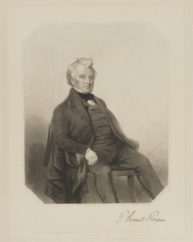 Thomas Perronet Thompson, by Samuel William Reynolds Jr, printed by  Brooker & Harrison, published by  Thomas Agnew, published by  Ackermann & Co, after  Charles Allen Duval, published 21 November 1844 - NPG D40428 - © National Portrait Gallery, London