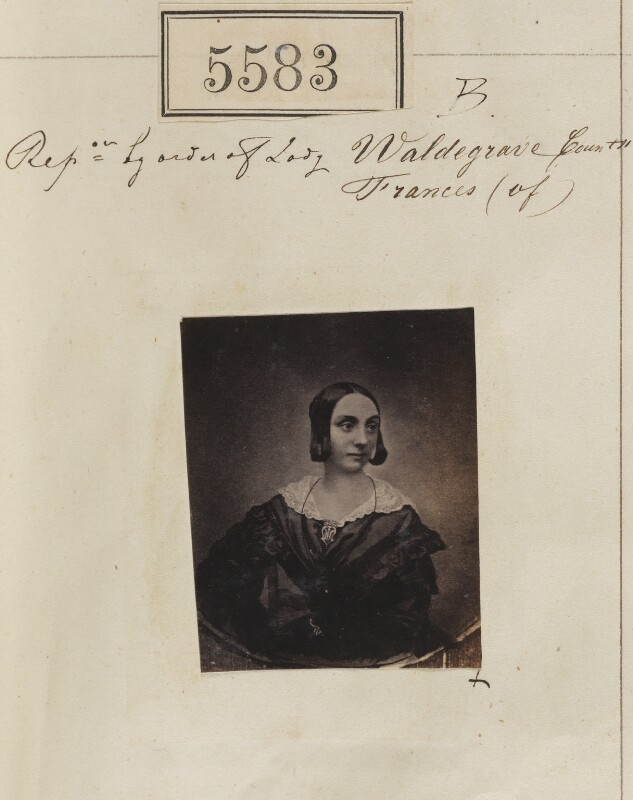 'Reproduction by order of Lady Frances, Countess of Waldegrave' (Frances Elizabeth Anne (née Braham), Countess Waldegrave), by Camille Silvy, after  Unknown photographer, 26 August 1861 (1840s) - NPG Ax55538 - © National Portrait Gallery, London