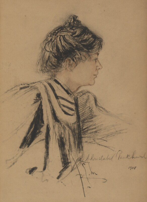 Dame Christabel Pankhurst, by Richard George Mathews, 1908 - NPG 6904 - © estate of Richard George Mathews / National Portrait Gallery, London