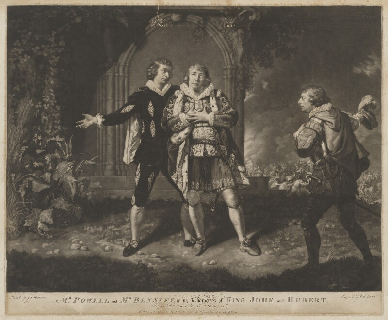 'Mr. Powell and Mr. Bensley in the Characters of King John and Hubert', by Valentine Green, published by  William Wynne Ryland, after  John Hamilton Mortimer, published 26 March 1771 - NPG D40461 - © National Portrait Gallery, London