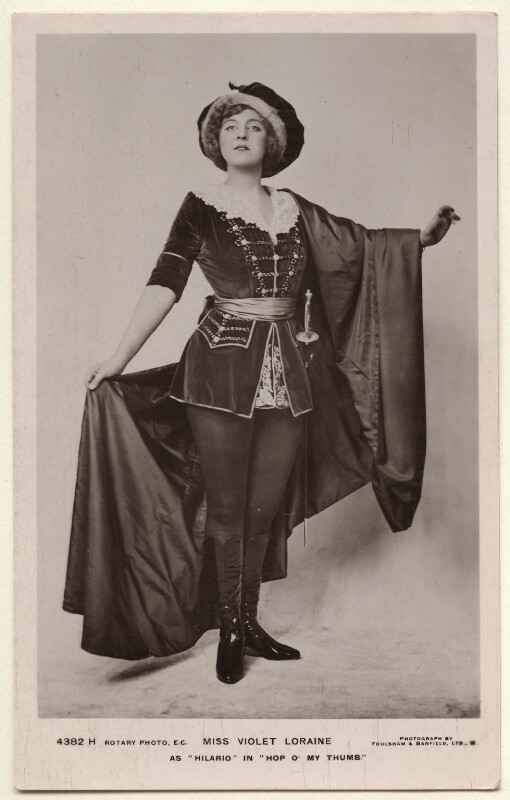 Violet Loraine as Hilario in 'Hop O' My Thumb', by Foulsham & Banfield, published by  Rotary Photographic Co Ltd, 1911 - NPG Ax160095 - © National Portrait Gallery, London