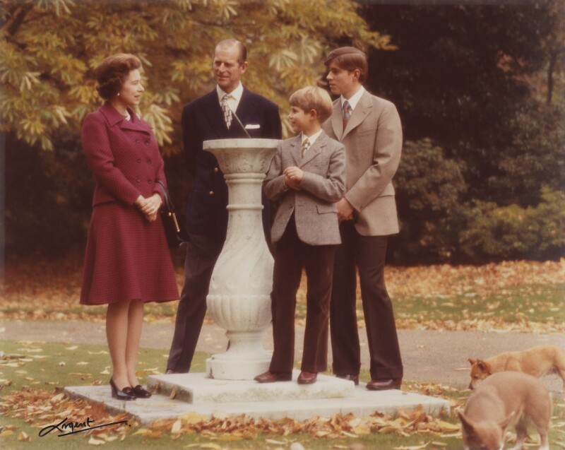Queen Elizabeth II; Prince Philip; Prince Edward; Prince Andrew, Duke of York, by Godfrey Argent, October 1974 - NPG P1411 - © Estate of Godfrey Argent / National Portrait Gallery, London