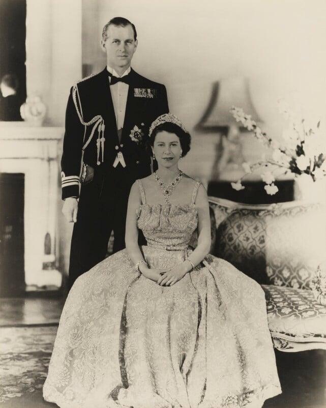 Prince Philip, Duke of Edinburgh; Queen Elizabeth II, by Baron Studios, 1951 - NPG P1422 - © Baron/Camera Press