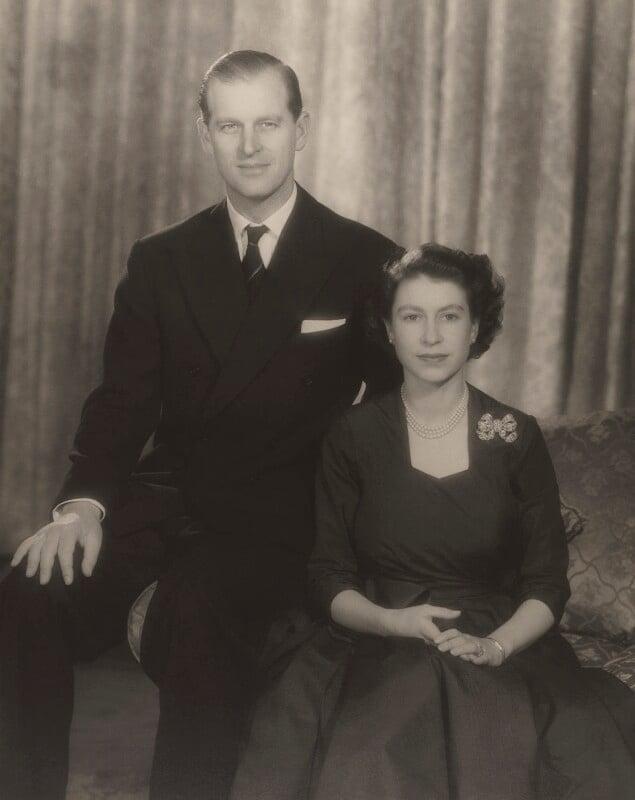 Prince Philip, Duke of Edinburgh; Queen Elizabeth II, by Baron Studios, 1951 - NPG P1425 - © Baron/Camera Press