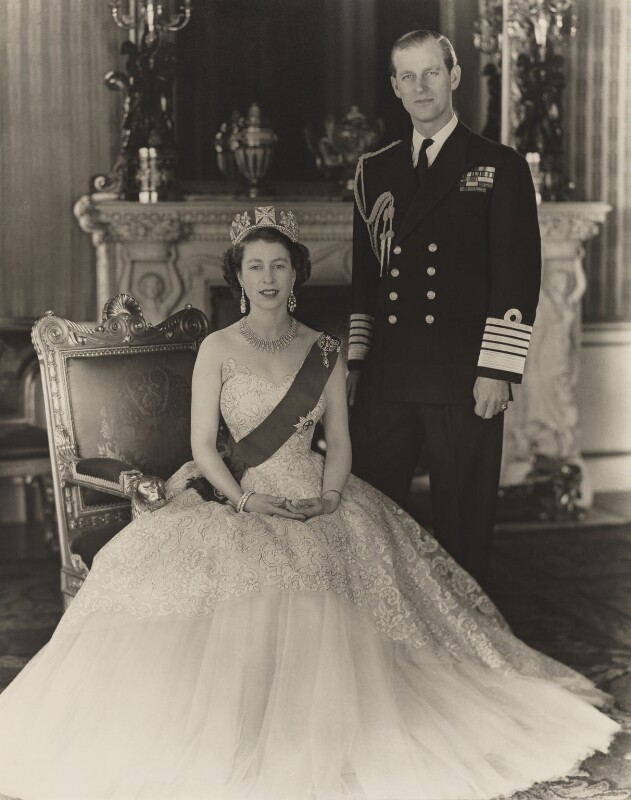 Queen Elizabeth II; Prince Philip, Duke of Edinburgh, by Baron Studios, 1953 - NPG P1432 - © Baron/Camera Press