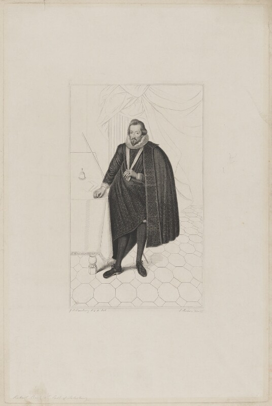 Robert Cecil, 1st Earl of Salisbury, by Joseph Brown, after  George Perfect Harding, mid 19th century - NPG D40027 - © National Portrait Gallery, London