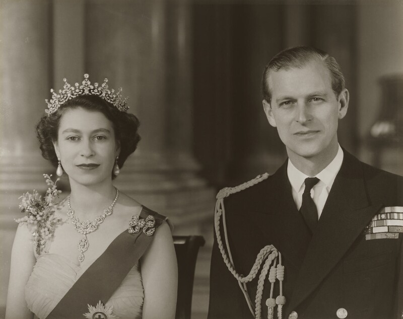 Queen Elizabeth II; Prince Philip, Duke of Edinburgh, by Baron Studios, November 1953 - NPG P1445 - © Baron/Camera Press